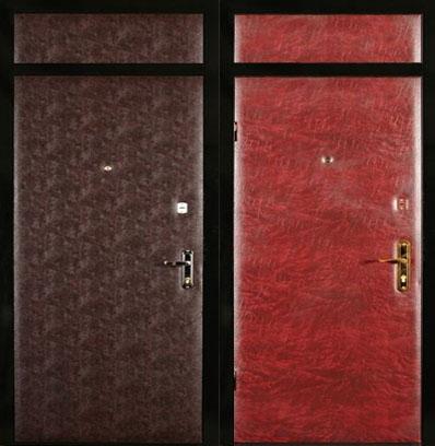 железные двери со вставкой эконом класса