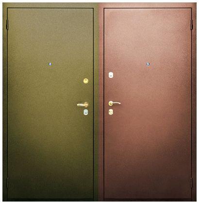 двери уличные металлические с напылением с двух сторон