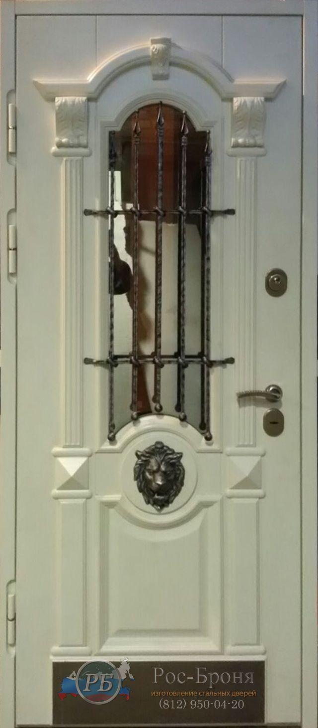 технические стальные двери со стеклом и ковкой